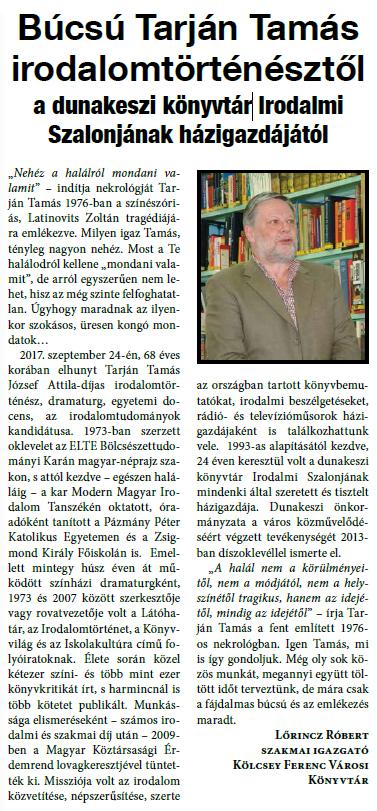 Búcsú Tarján Tamás irodalomtörténésztől a dunakeszi könyvtár Irodalmi Szalonjának házigazdájától