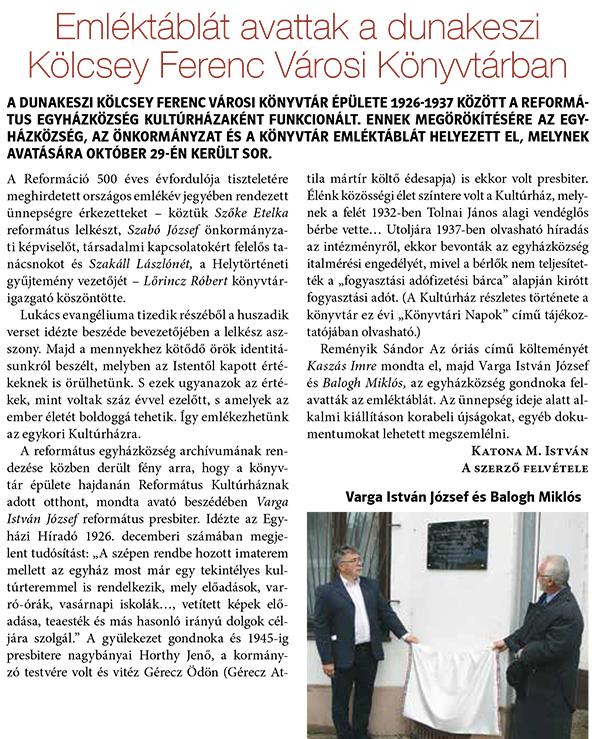 Emléktáblát avattak a dunakeszi Kölcsey Ferenc Városi Könyvtárban
