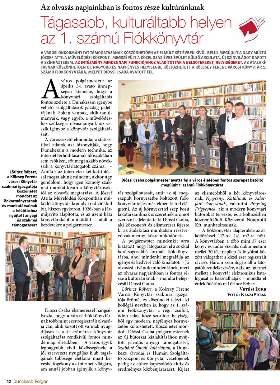 Tágasabb, kulturáltabb helyen az 1. számú Fiókkönyvtár
